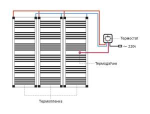 Схема подключения пленочных нагревательных элементов